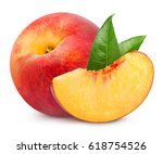 peach fruits with leaf isolated ... | Shutterstock . vector #618754526