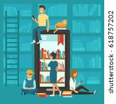 online library concept.... | Shutterstock .eps vector #618757202