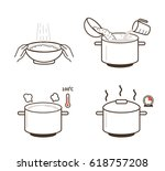 rice cooking directions. steps... | Shutterstock .eps vector #618757208