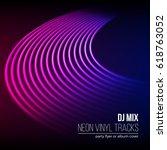 vinyl grooves as neon lines...   Shutterstock .eps vector #618763052