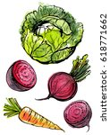 vegetables painted with... | Shutterstock .eps vector #618771662