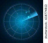 blue radar screen with targets...   Shutterstock .eps vector #618774812