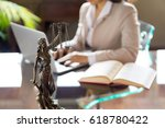 lawyer office. statue of... | Shutterstock . vector #618780422
