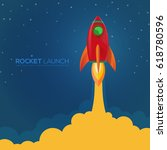 red rocket launch with smoke... | Shutterstock .eps vector #618780596
