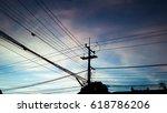Electricity Pylon On Blue Sky...