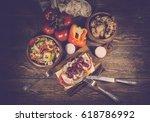 sandwich with turkey  sweet...   Shutterstock . vector #618786992