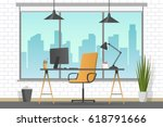 workplace banner. office theme... | Shutterstock .eps vector #618791666