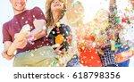 group of happy friends enjoying ... | Shutterstock . vector #618798356