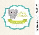 Stock vector kawaii elephant baby shower design vector graphic 618807935