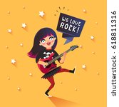 stylish girl with we love rock... | Shutterstock .eps vector #618811316