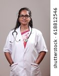 portrait of a young lady doctor ... | Shutterstock . vector #618812546