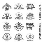 set of vector black grill and... | Shutterstock .eps vector #618812876