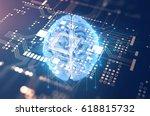 3d rendering of human  brain on ... | Shutterstock . vector #618815732