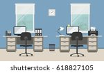 workplace of office workers... | Shutterstock .eps vector #618827105