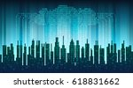 binary rain in digital abstract ... | Shutterstock .eps vector #618831662