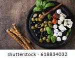 mediterranean appetizer... | Shutterstock . vector #618834032