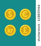a set of gold coins with the... | Shutterstock .eps vector #618835466