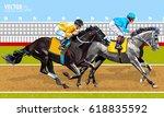 jockey on horse. champion. two... | Shutterstock .eps vector #618835592