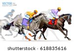 four racing horses competing... | Shutterstock .eps vector #618835616