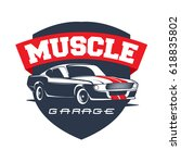 american 70s customized muscle... | Shutterstock .eps vector #618835802