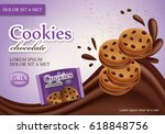 sandwich chocolate cookies... | Shutterstock .eps vector #618848756