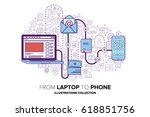 from laptop to phone.... | Shutterstock .eps vector #618851756