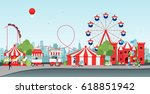 amusement park with ferris... | Shutterstock .eps vector #618851942