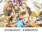 multiracial friends group... | Shutterstock . vector #618862652