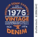 vintage effected typo tee print ... | Shutterstock .eps vector #618863642