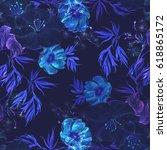 blue flowers on a dark blue... | Shutterstock . vector #618865172