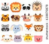 Stock vector cute cartoon animals head dog pig cow deer lion sheep tiger panda raccoon monkey fox 618870878