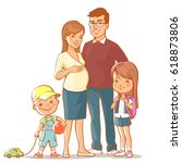 family together. pregnant woman ... | Shutterstock .eps vector #618873806