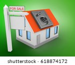 3d illustration of house red... | Shutterstock . vector #618874172