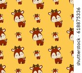seamless baby pattern with cute ... | Shutterstock .eps vector #618875336
