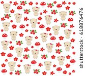 seamless baby pattern with cute ... | Shutterstock .eps vector #618876476
