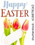 easter greeting against tulips... | Shutterstock . vector #618878162