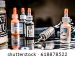 tattoo gun and some ink for...   Shutterstock . vector #618878522