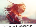 cheerful happy young adult girl ... | Shutterstock . vector #618880355