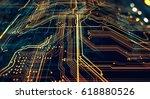 circuit board futuristic server ... | Shutterstock . vector #618880526