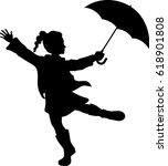 girl playing with umbrella  ... | Shutterstock .eps vector #618901808