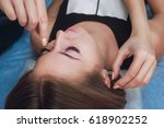 master corrects makeup gives...   Shutterstock . vector #618902252