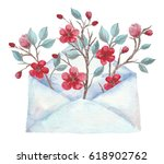 watercolor envelope with spring ... | Shutterstock . vector #618902762