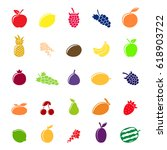 set of different fruit icons... | Shutterstock .eps vector #618903722