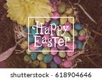 Happy Easter Against Colorful...
