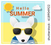 hello summer background with... | Shutterstock .eps vector #618904922