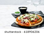sweet potato pizza crust with...   Shutterstock . vector #618906206