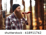 bearded lumberjack in the... | Shutterstock . vector #618911762