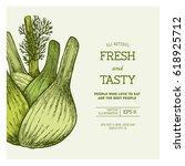 fennel bulb vintage design... | Shutterstock .eps vector #618925712