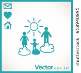 flat icon. happy family and sun.... | Shutterstock .eps vector #618940895