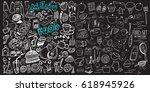 hand drawn food elements. set... | Shutterstock .eps vector #618945926